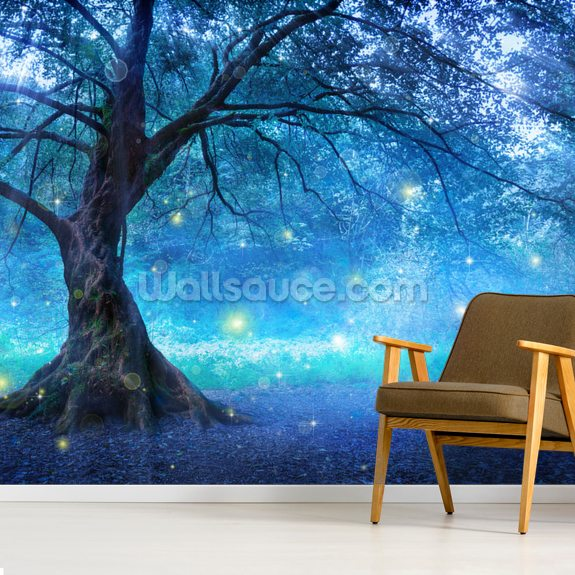 Enchanted Blue Woodland wallpaper mural room setting