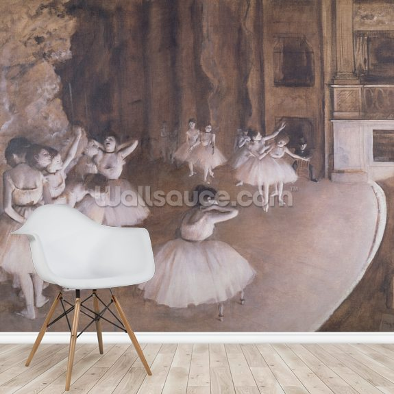 Ballet Rehearsal on the Stage, 1874 (oil on canvas) wall mural room setting