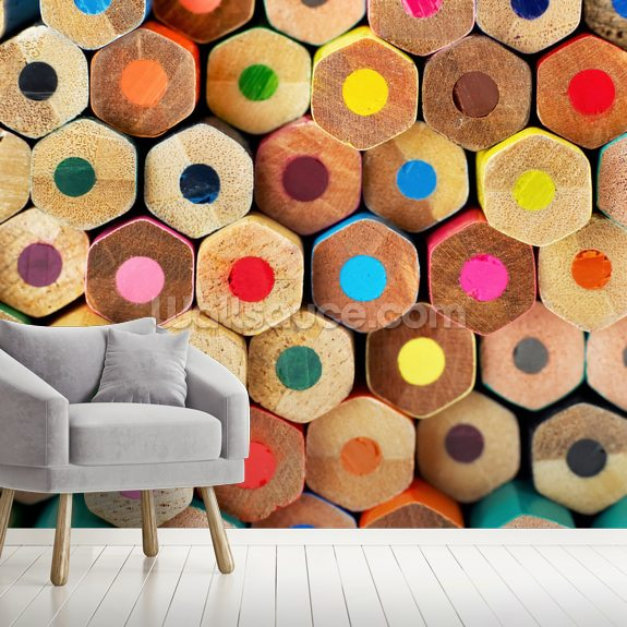 Pencil Pattern mural wallpaper room setting