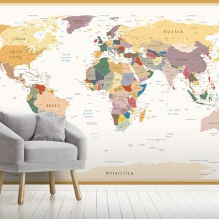 Political World Map Vintage Colours