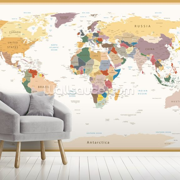 Political World Map Vintage Colours wall mural room setting
