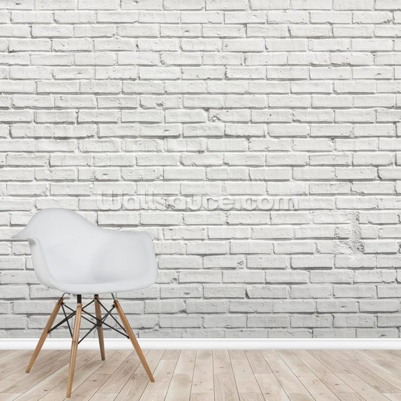 White Brick Effect Wall mural wallpaper room setting
