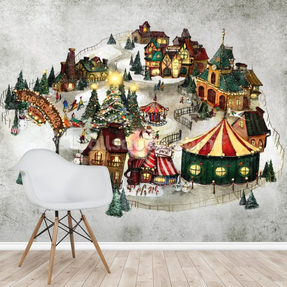 Snow Village wall mural room setting