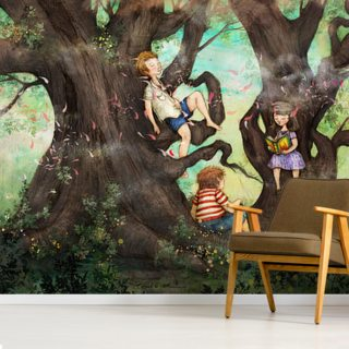 Children Three that Nestle Near Wallpaper Wall Murals