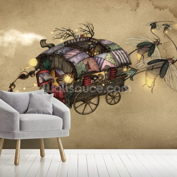 Gypsy Wagon Wall Mural | Wallsauce US