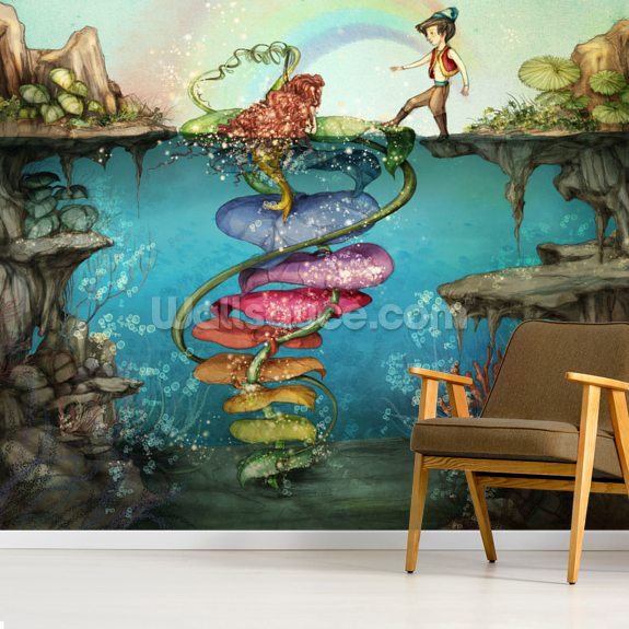 Walk with Me wallpaper mural room setting