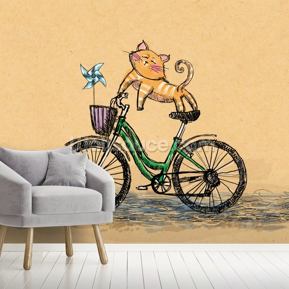 Cat Cycle wall mural room setting