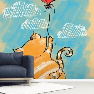 Cat and Balloon Wallpaper Wall Murals