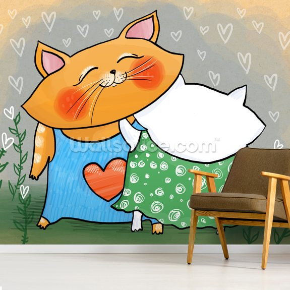 Cuddles mural wallpaper room setting