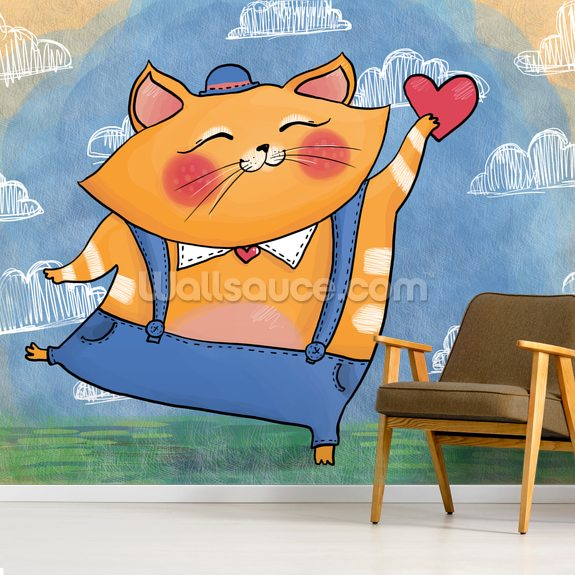 Cat and Heart mural wallpaper room setting