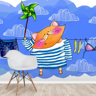 Cat Washing Wallpaper Wall Murals