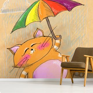 Cat and Rain Wallpaper Wall Murals