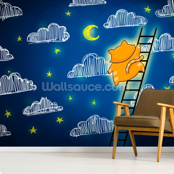 Cat and Star wallpaper mural room setting