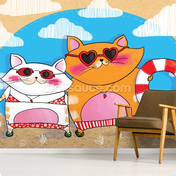 Cats on Holiday mural wallpaper room setting
