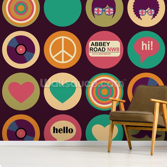 Pop Art - British Musical Pattern wallpaper mural room setting