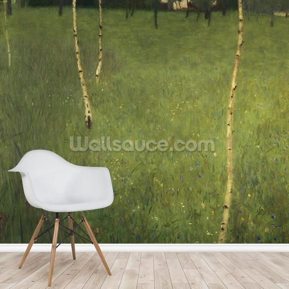 Farmhouse with Birch Trees, 1900 (oil on canvas) wallpaper mural room setting
