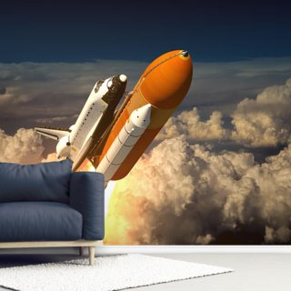 Space Shuttle In The Clouds Wallpaper Wall Murals