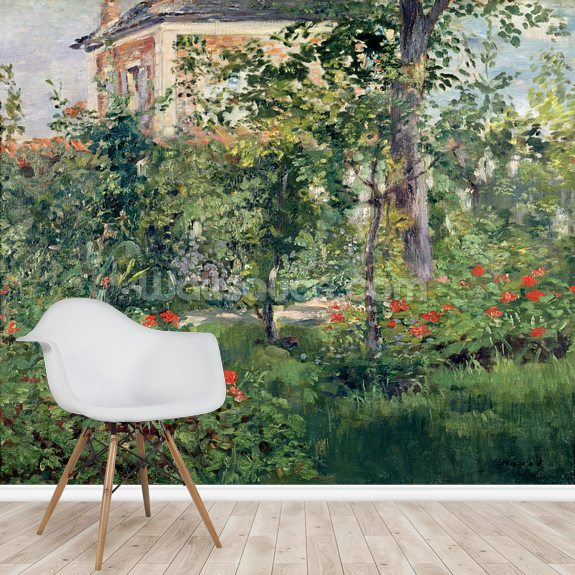 The Garden at Bellevue, 1880 (oil on canvas) wallpaper mural room setting