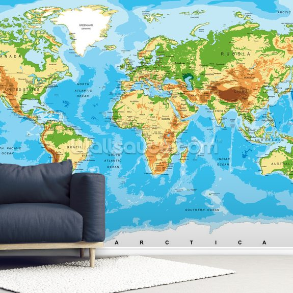 Physical Map of the World Wallpaper Mural | Wallsauce US