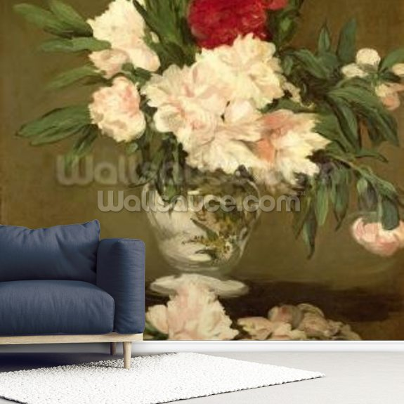 Vase of Peonies on a Small Pedestal, 1864 (oil on canvas) wallpaper mural room setting