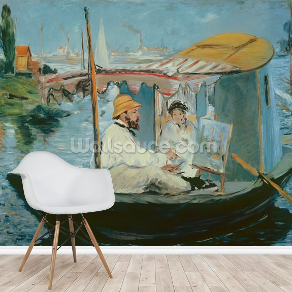 Monet in his Floating Studio, 1874 (oil on canvas) mural wallpaper room setting