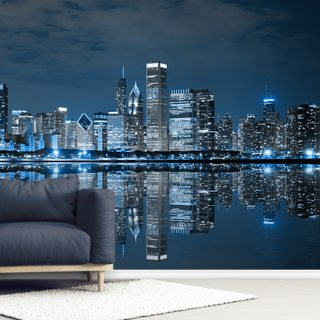 Chicago Downtown at Night Wallpaper Wall Murals