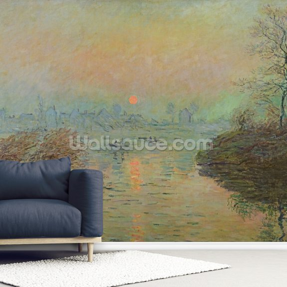 Sun Setting over the Seine at Lavacourt. Winter Effect, 1880 (oil on canvas) mural wallpaper room setting