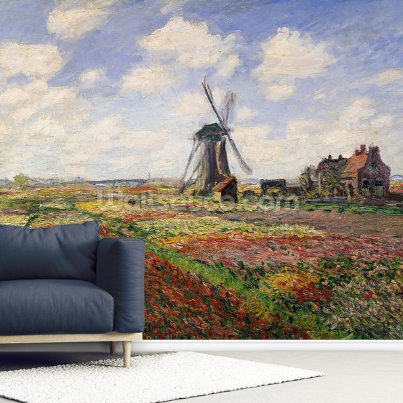 Tulip Fields with the Rijnsburg Windmill, 1886 (oil on canvas) wallpaper mural room setting