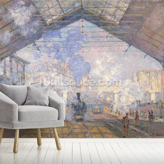 The Gare St. Lazare, 1877 (oil on canvas) wall mural room setting