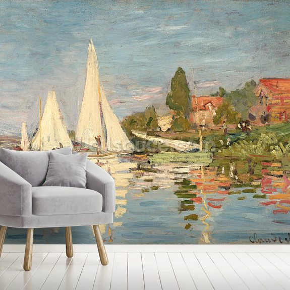 Regatta at Argenteuil, c.1872 (oil on canvas) wallpaper mural room setting