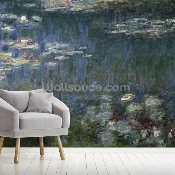 Waterlilies: Green Reflections, 1914-18 (left section) (oil on canvas) wallpaper mural room setting