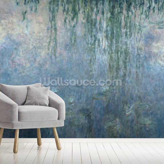 Waterlilies: Morning with Weeping Willows, detail of central section, 1914-18 (oil on canvas) mural wallpaper room setting
