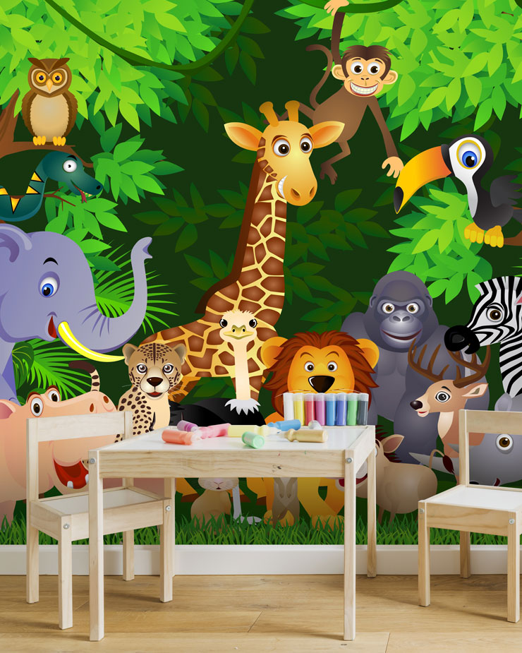 animal-mural-in-playroom