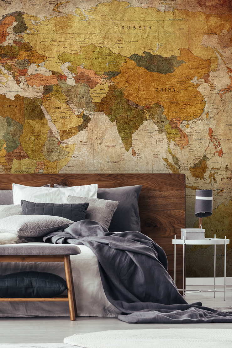 map-wallpaper-in-guest-bedroom