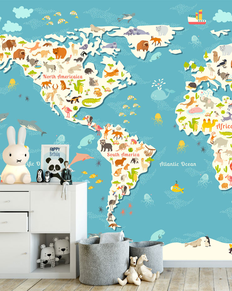 childrens-map-mural-in-bedroom