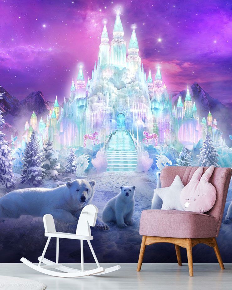 ice-castle-mural-in-girls-bedroom