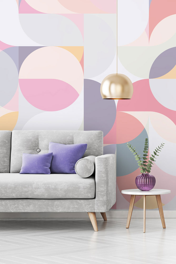 pink-pastel-geometric-wallpaper-in-lounge