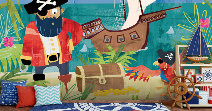pirate-wall-mural-in-childrens-bedroom