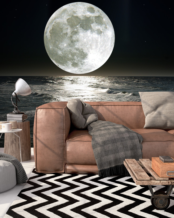 moon-wallpaper-in-living-room