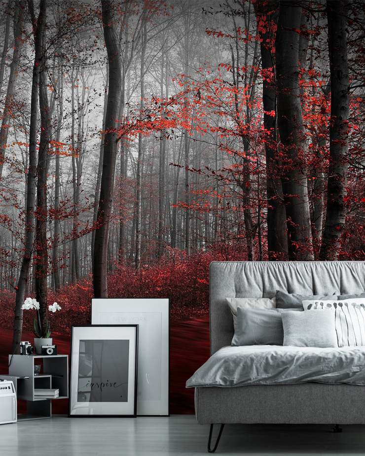 red-forest-wallpaper-in-bedroom