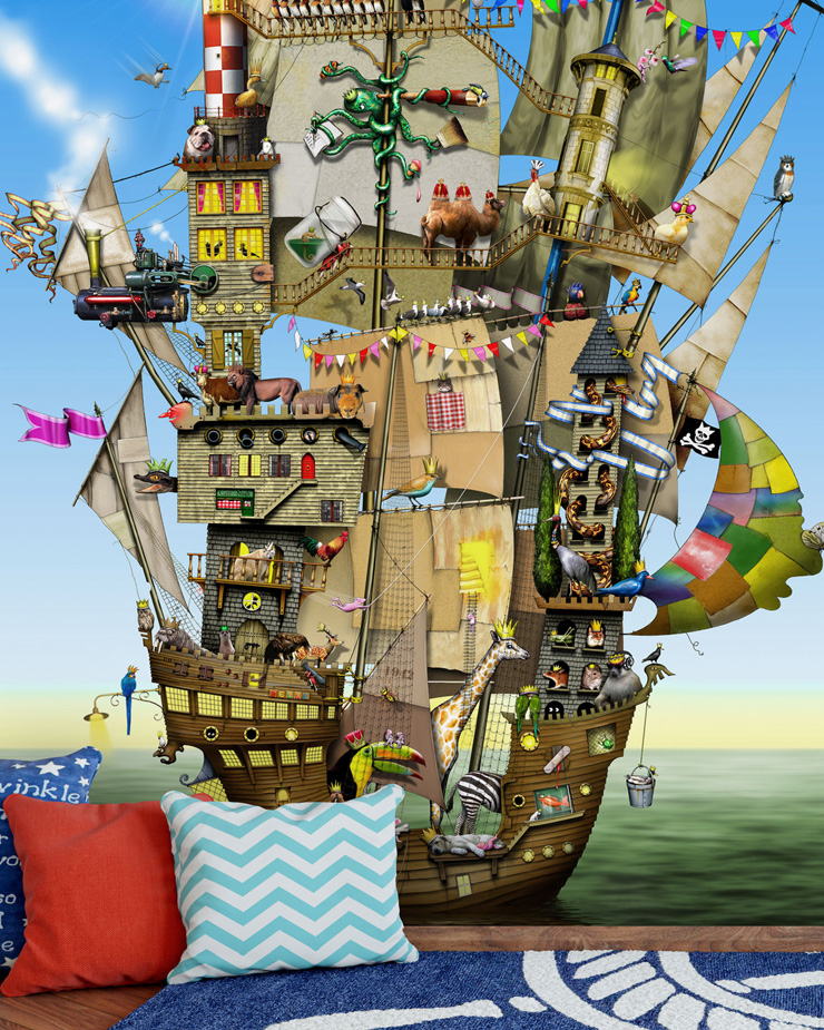 pirate-ship-mural-in-boys-bedroom