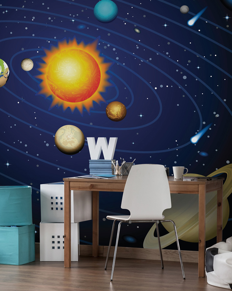 solar-system-wallpaper-in-boys-bedroom