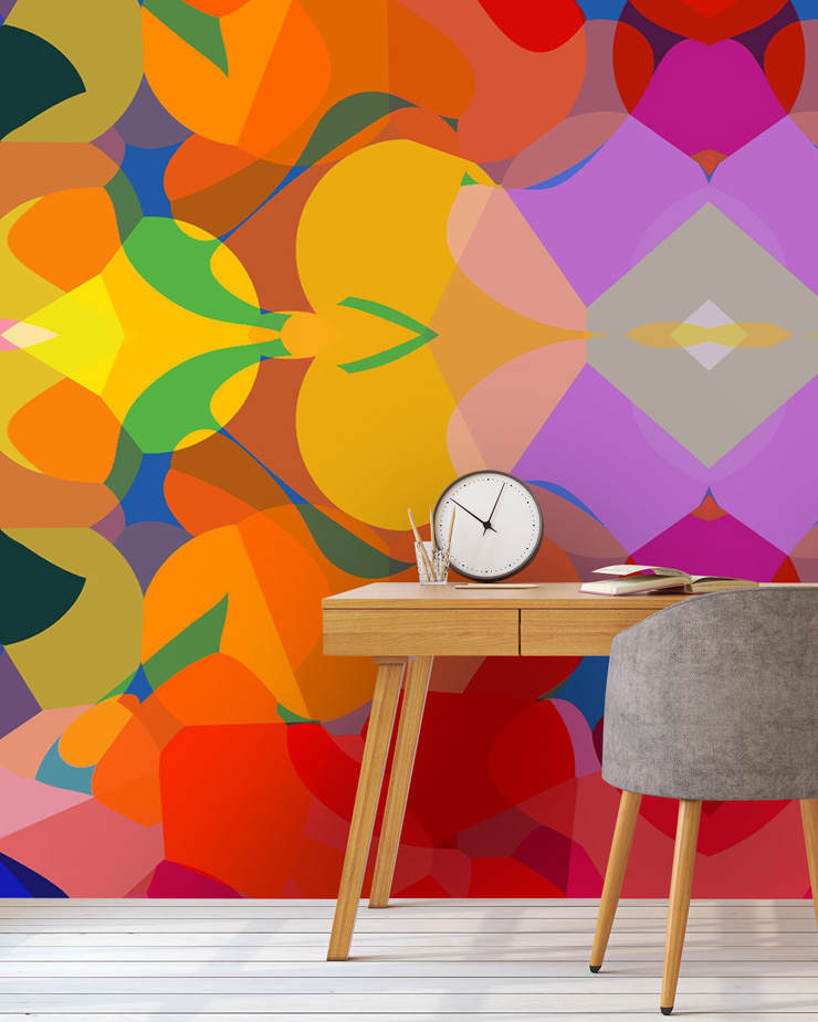 graphic-tribal-style-wallpaper-in-home-office