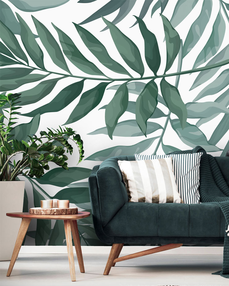 palm-print-mural-in-living-room
