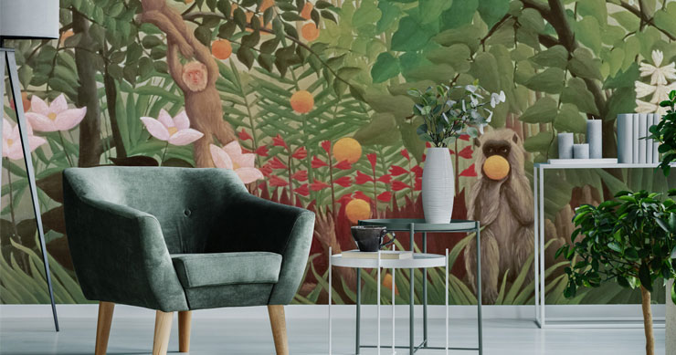 henri-rousseau-mural-in-living-room