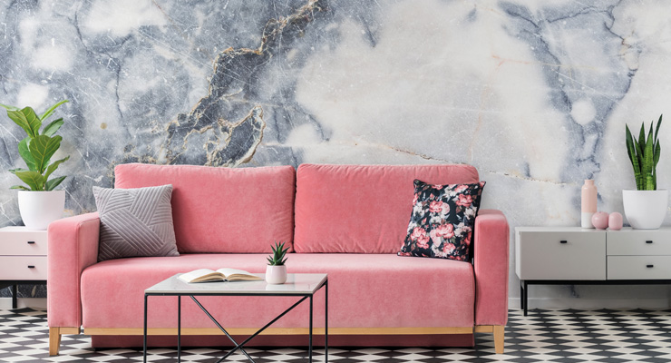 marble-wallpaper-in-living-room