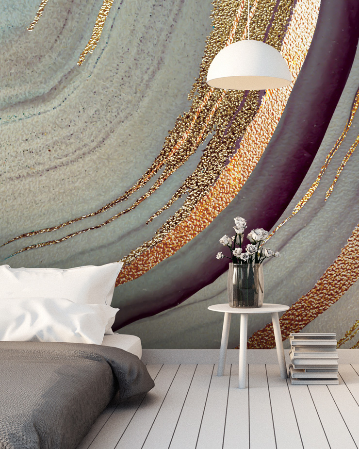 gold-and-marble-mural-in-bedroom