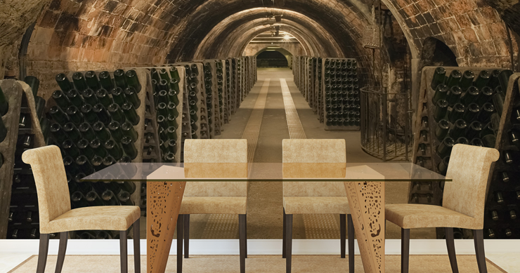 3d-wine-cellar-wall-mural-in-dining-room