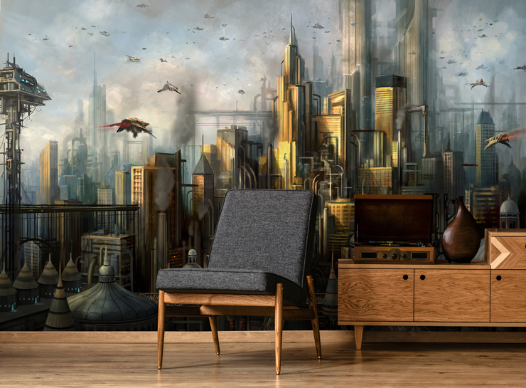 fantasy gaming wall mural in lounge