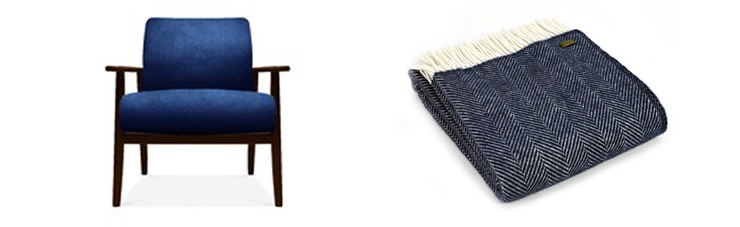navy armchair and navy throw